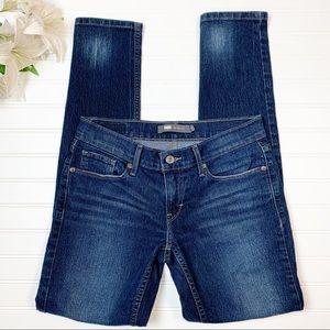 Levi's 524 Skinny Jeans Dark Wash Zip Fly Size 7